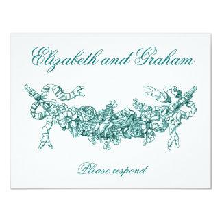 Aqua Swag Wedding RSVP English Style Card