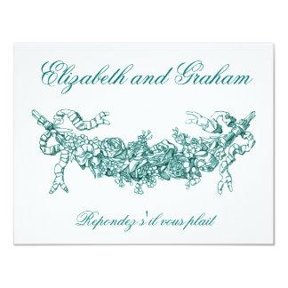 Aqua Swag Wedding RSVP French Style Card