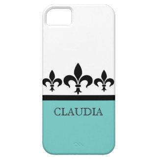 Aqua Swanky Fleur De Lis BT iPhone 5 Case