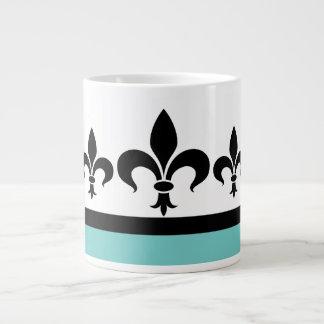Aqua Swanky Fleur De Lis Jumbo Mug