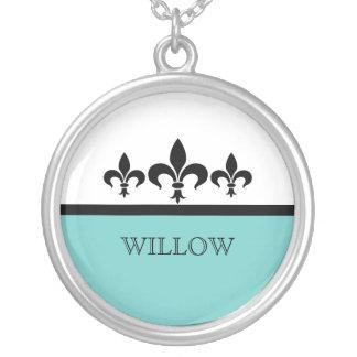 Aqua Swanky Fleur De Lis Necklace