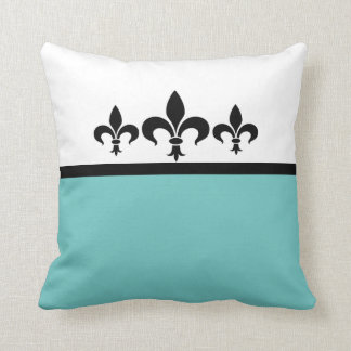 Aqua Swanky Fleur De Lis Pillow