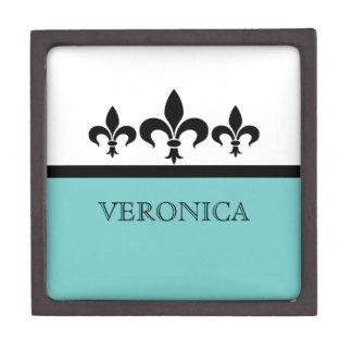 Aqua Swanky Fleur De Lis Premium Gift Box