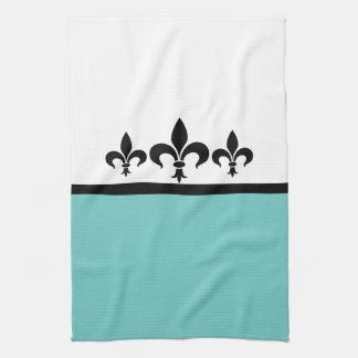 Aqua Swanky Fleur De Lis Towel