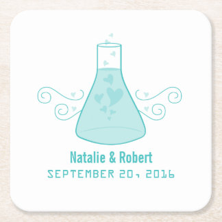 Aqua Sweet Chemistry Wedding Paper Coasters