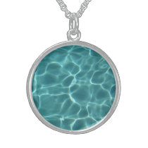 Aqua Swimming Pool Pattern Sterling Silver Necklace