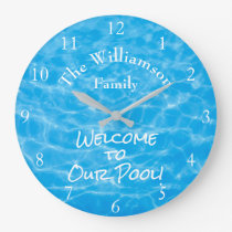 Aqua Swimming Pool Summer Water Ripples Large Clock