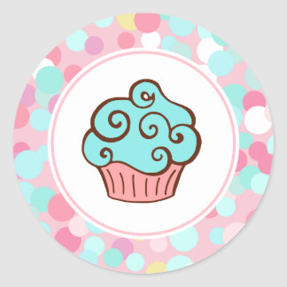 Aqua Swirl Cupcake Stickers