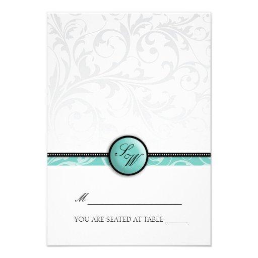 Aqua Swirl Monogram Folding Tent  Place Card Invitation