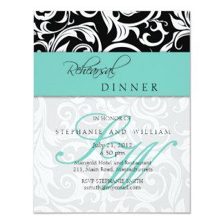 Aqua Swirl Monogram Rehearsal Dinner Card
