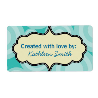 Aqua Swirlies Recipe/Goodies Label Shipping Label