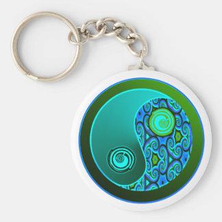 Aqua Swirls Yin Yang Keychain