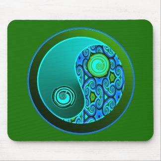 Aqua Swirls Yin Yang Mouse Pad