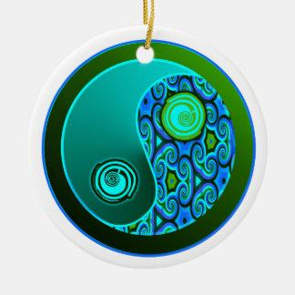 Aqua Swirls Yin Yang Ornament