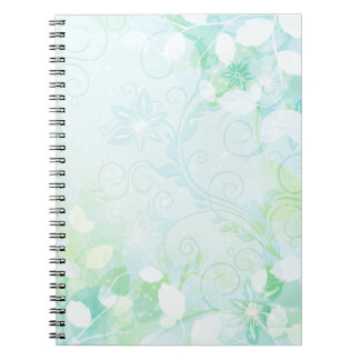 Aqua Swirly Floral Notebook