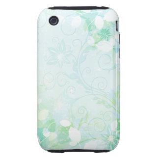 Aqua Swirly Floral Tough iPhone 3 Cover