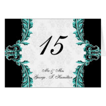 aqua table seating card