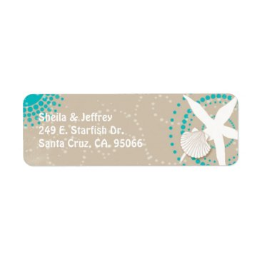 Beach Themed Aqua Tan White Beach Wedding Label