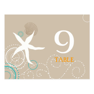 Aqua Tan White Beach Wedding Table Numbers Postcard