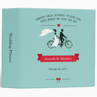 Aqua Tandem Bicycle Wedding Planning Binder 2-inch