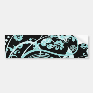 Aqua Teal and Black Floral Swirls Gifts for Girls Bumper Sticker