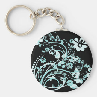 Aqua Teal and Black Floral Swirls Gifts for Girls Key Chain