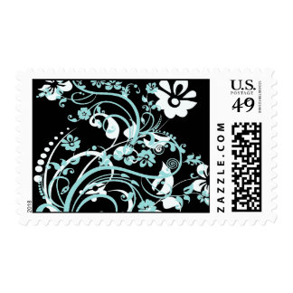 Aqua Teal and Black Floral Swirls Gifts for Girls Postage