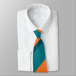 Aqua Teal and Orange Broad Regimental Stripe Tie
