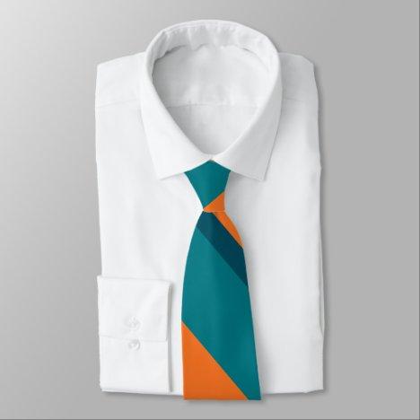 Aqua Teal and Orange Broad University Stripe Tie