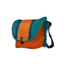 Aqua Teal and Orange Courier Bag