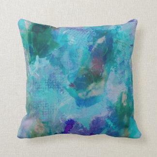 Aqua teal and purple abstract throw pillow