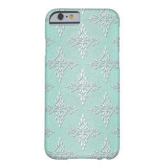 Aqua Teal and Silvery White Damask Pattern Barely There iPhone 6 Case