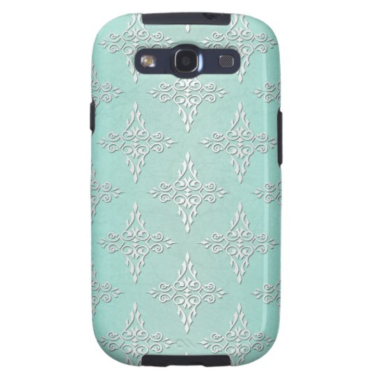 Aqua Teal and Silvery White Damask Pattern Galaxy S3 Case