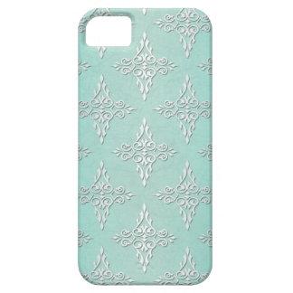 Aqua Teal and Silvery White Damask Pattern iPhone 5 Covers