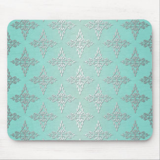 Aqua Teal and Silvery White Damask Pattern Mouse Pad