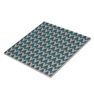Aqua, Teal and White Chevron Ceramic Tile
