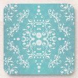 Aqua Teal and White Floral Damask Coaster