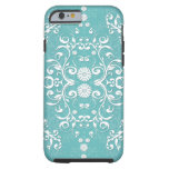 Aqua Teal and White Floral Damask iPhone 6 Case