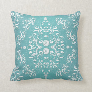 Aqua Teal and White Floral Damask Throw Pillow