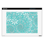 "Aqua Teal and White Spring Flowers Pattern 15"" Laptop Decal"