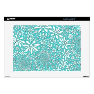 """Aqua Teal and White Spring Flowers Pattern 15"""" Laptop Decals"""