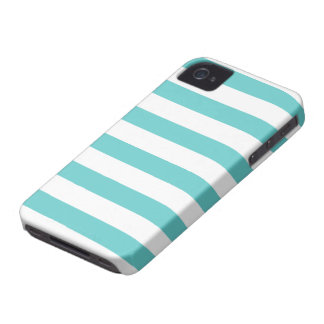 Aqua Teal and White Striped Pattern iPhone 4 Covers