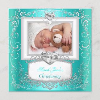 Aqua Teal Baby Girl Boy Christening Baptism Cross Announcement