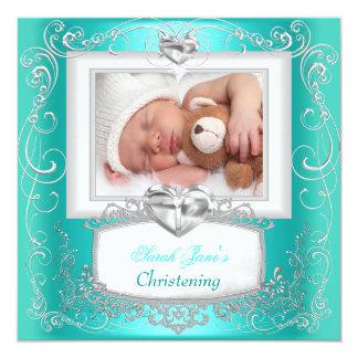 Aqua Teal Baby Girl Boy Christening Baptism Cross Invitation