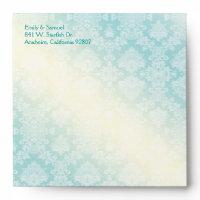 Aqua Teal Beach Wedding Invitation Square Envelope