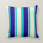 [ Thumbnail: Aqua, Teal, Beige, Dark Blue, and Light Sea Green Throw Pillow ]