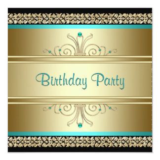 Aqua Teal Blue and Gold Birthday Party Card