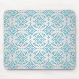 Aqua Teal Blue and Silver Damask Mouse Pad