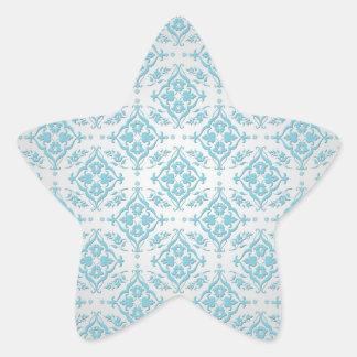Aqua Teal Blue and Silver Damask Star Sticker