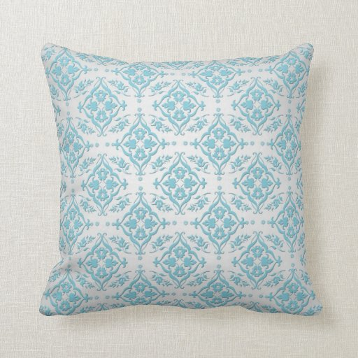 Aqua Teal Blue and Silver Damask Throw Pillow Zazzle